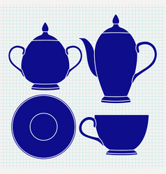 Tea set tableware blue icons vector