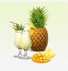 Tropical cocktails and fruits vector