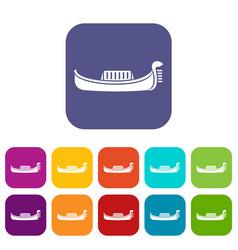 Venice gondola icons set vector