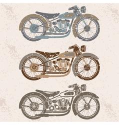 Vintage grunge motorcycle set graphic design vector
