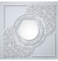 White decor with shadow on white vector image