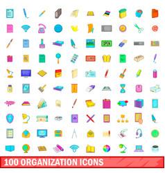 100 organisation icons set cartoon style vector