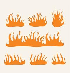 Fire Flames set vector image