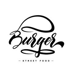 Hand lettering burger food logo design vector image