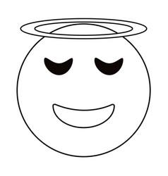 angel emoticon style thin line vector image