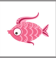 Pink scaled fantastic colorful aquarium fish vector