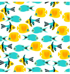 seamless pattern texture with fishes vector image