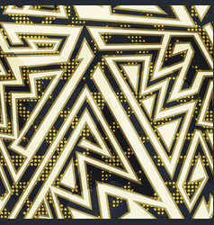 Gold color geometric seamless pattern vector