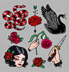Set of femme fatale classic flash style patches vector