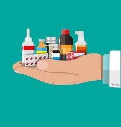 Different medical pills and bottles vector