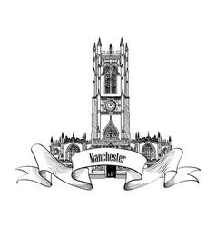 travel england sign manchester city landmark uk vector image