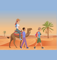 Man walking with guide and vector