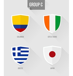 Brazil Soccer Championship 2014 Group C flags vector image