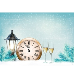 Holiday retro background with champagne glasses vector image