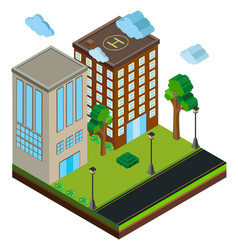 3d design for buildings along the road vector image