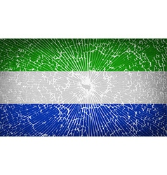 Flags sierra leone with broken glass texture vector