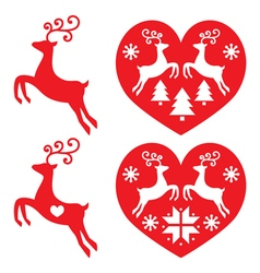 Reindeer deer jumping christmas icons set vector