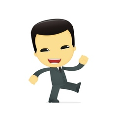 Funny cartoon asian businessman vector
