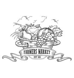 Farmers market badge Monochrome vintage engraving vector image