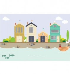 seaside houses vector image