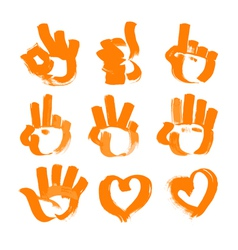 orange brush strokes numerals hands heart and ok vector image
