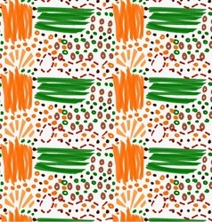 Abstract orange and green strokes with circles vector image vector image