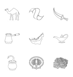 Arab emirates set icons in outline style big vector