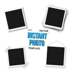 Blank vintage photo frame mockup set isolated on vector