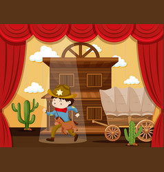 Boy playing cowboy on stage vector