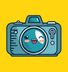 Camera photographic character handmade drawn vector