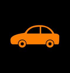 Car sign orange icon on black vector
