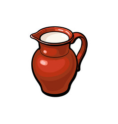 Clay pot jug full of cow goat sheep milk vector