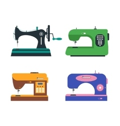 Color Sewing Machine Set Retro and Modern vector image