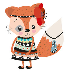 cute fox on a white background vector image