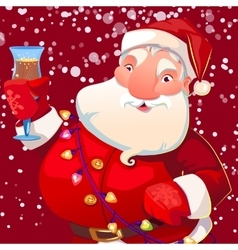 Cute santa with wineglass vector