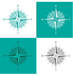 Detailed set compass windrose isolated on white vector