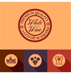 Flat wine menu icons vector