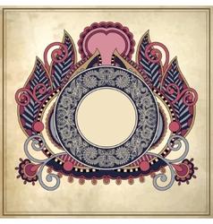 floral circle frame on grunge paper background vector image vector image