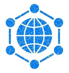 Global frame grainy texture icon vector