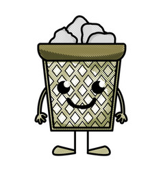 Grated happy papers can kawaii with arms and legs vector