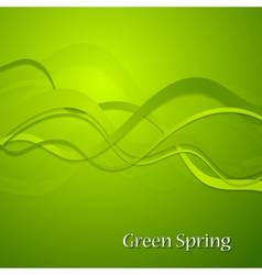Green spring waves background vector image