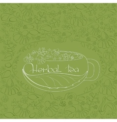 Hand drawn white silhouette herbal tea theme vector image