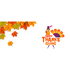 happy thanksgiving typographic cartoon character vector image vector image