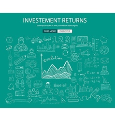 Investment returns concept with doodle design vector