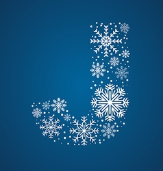 Letter j font frosty snowflakes vector