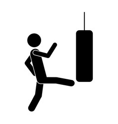 Monochrome pictogram with man kicking a punching vector