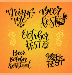 October fest calligraphic set beer fest drink me vector