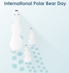 Polar white bear with cubs vector