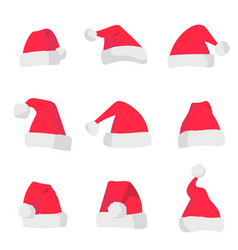 red santa claus hats isolated on colorful vector image