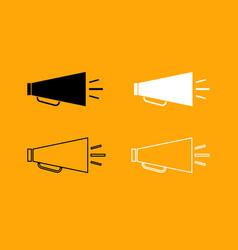 retro loudspeaker black and white set icon vector image